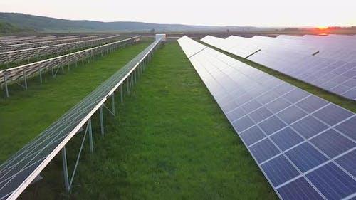 Grünes Feld mit Solarenergieanlagen zur Erzeugung erneuerbarer Elektrizität.