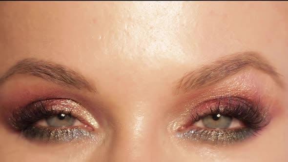 Thumbnail for Pretty Woman with Makeup and Eyelashes Looking at camera