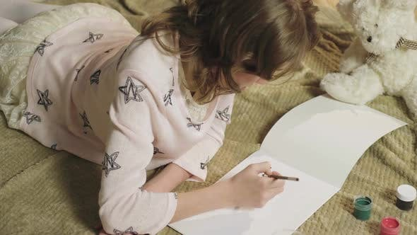 Thumbnail for Talented Girl Neatly Drawing with Gouache Beautiful Flowers in Her Album, Hobby