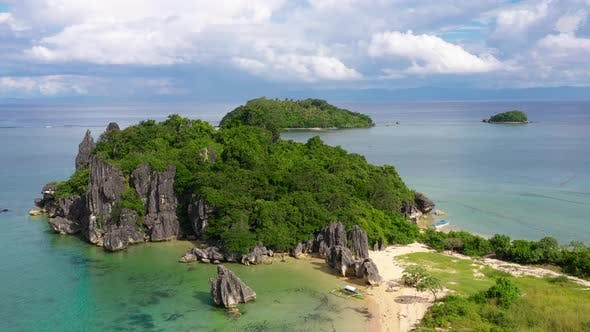 Thumbnail for Nature Landscape: Sandy Tropical Beach with Crystal Clear Sea. Rocks and Tropical Beach in Caramoan
