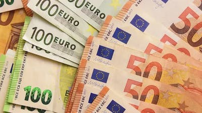 Fifty And Hundred Euro Banknotes Background(Zoom In)