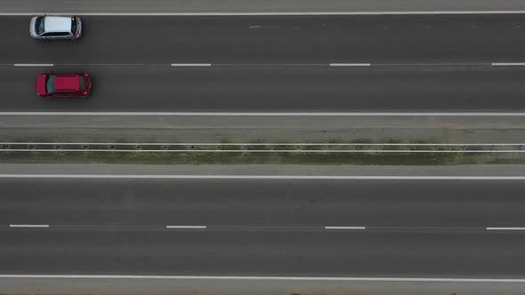 Aerial Video. Flying Over the Highway.