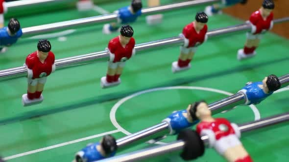 Thumbnail for Table Football, Plastic Figures of Soccer Players Moving on Foosball Field, Pub