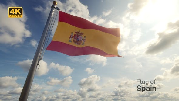 Spain Flag on a Flagpole - 4K