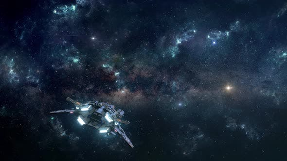 Thumbnail for Small Spaceship Exploring the Depths of Space Through the Stars and Nebulae