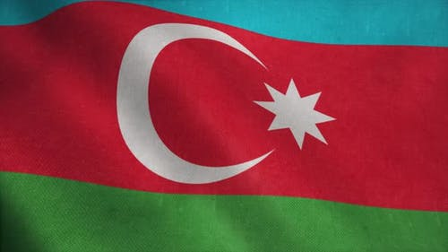 Azerbaijan Flag in Slow Motion Animation Waving in the Wind Realistic