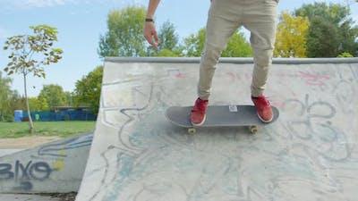 Skating in a skatepark