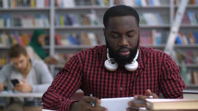 Black Student Making Distance Online Learning