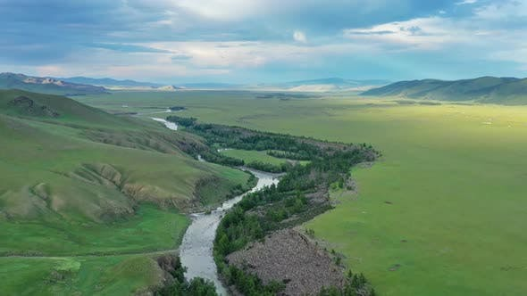 Thumbnail for Aerial View of Steppe and Mountains in Mongolia