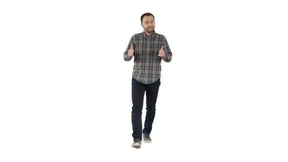 Cover Image for Walking man pointing and explaining something on white background.