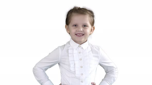 Thumbnail for Little Girl Posing in Different Poses on White Background.