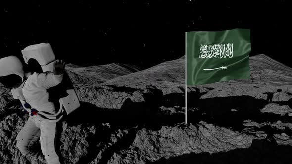 Astronaut Planting Saudi Arabia Flag on the Moon
