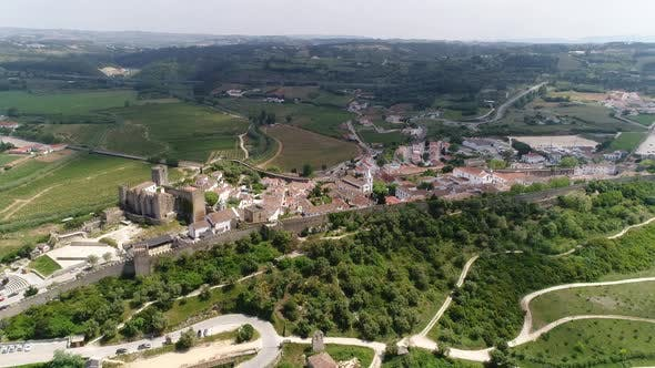 Flying Over Medieval City of Óbidos, Portugal