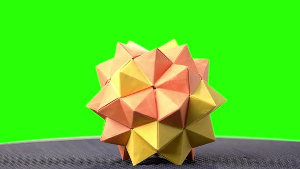 Modular Origami Ball on Green Screen.