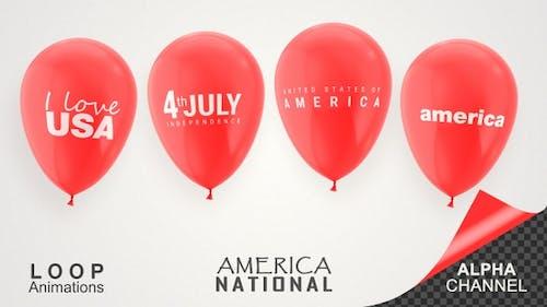 USA America National Day Celebration Balloons