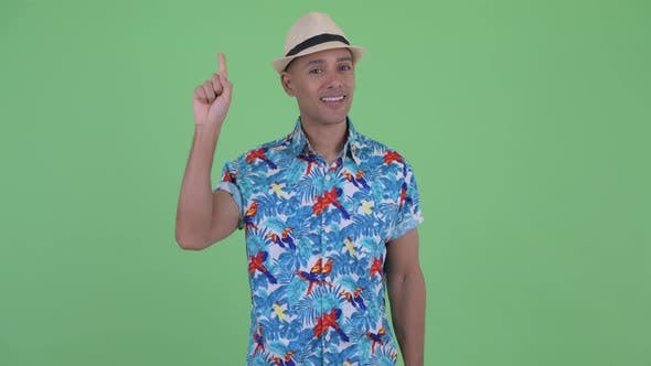 Thumbnail for Happy Multi Ethnic Tourist Man Pointing Up
