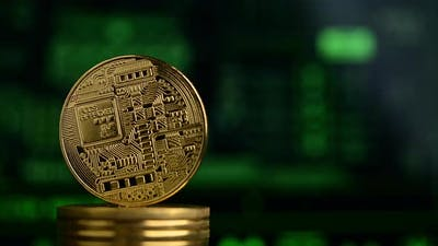 cryptocurrency bitcoin physical coin spins