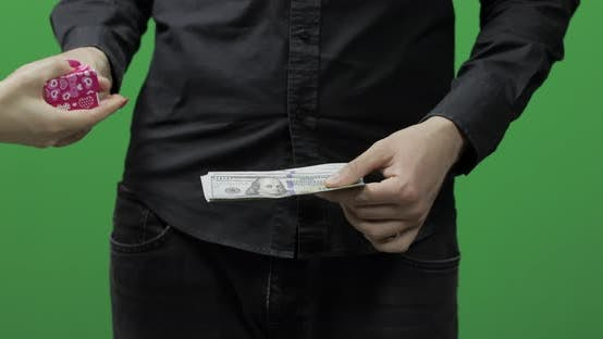 Thumbnail for Counting Money Green Screen. Give Money Cash, Receive Gift Concept