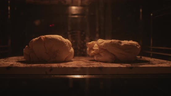 Close Up View of Two Pieces of Homemade Dough Rising in the Oven
