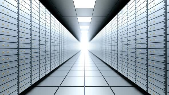Cover Image for Long Bright Bank Vault Room, Seamless Loop