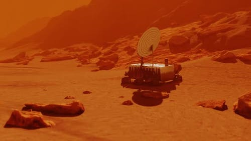Rover on Mission Exploring Red Planet Mars Surface, Science in Space