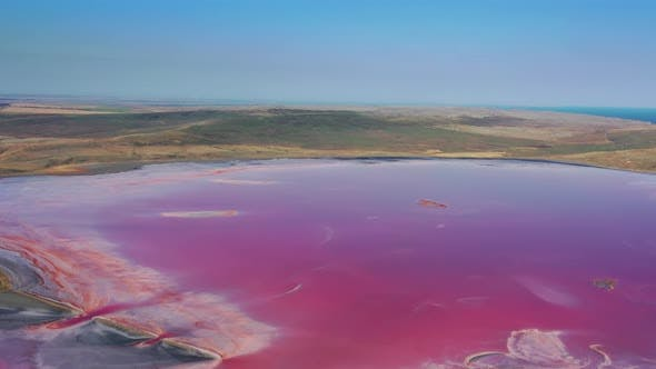 Thumbnail for Aerial View of Pink Lake Near Black Sea in Crimea