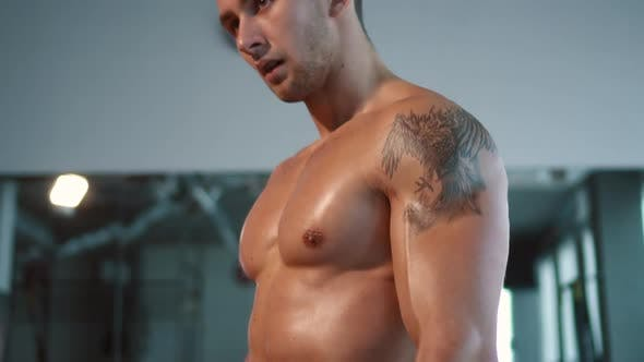 Thumbnail for Close Up Muscular Male Sport Body in Gym