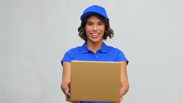 Happy Delivery Girl with Parcel Box in Blue