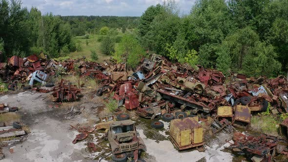 Thumbnail for Drone View of Car Dump in Chernobyl Zone
