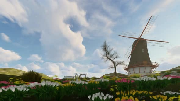 Windmill Background Oil Paint Style