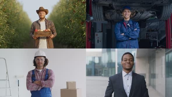 Creative Collage of Four Diverse Men Wearing Uniforms Gardener Auto Mechanic Builder and Businessman