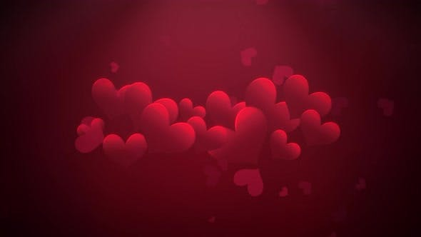 Thumbnail for Animation closeup motion romantic hearts on Valentine day shiny background