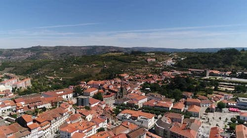 Aerial View of the Beautiful Cathedral and City of Lamego, Portugal
