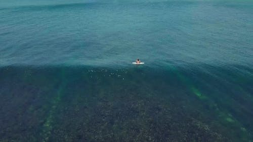 Surfers in the Ocean, Male Surfer Catches and Ride a Massive Barreling Waves.