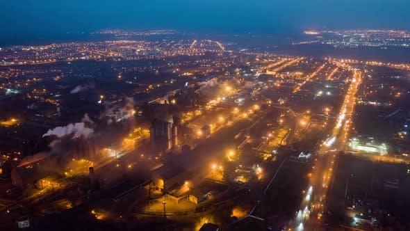 Thumbnail for Aerial Hyperlapse Time Lapse, Night Scene of Industrial Power Plant