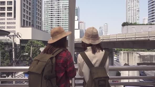 Asian women lesbian lgbt couple travel in Bangkok spending holiday trip at amazing landmark.