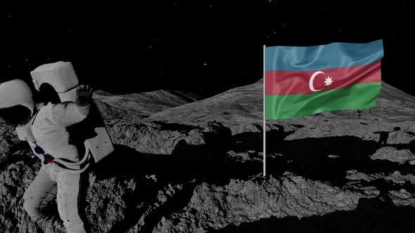 Astronaut Planting Azerbaijan Flag on the Moon