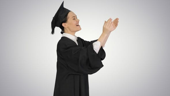Thumbnail for Graduation student woman applauding smiling on gradient background.