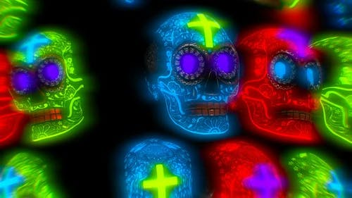 Glowing neon Halloween skulls