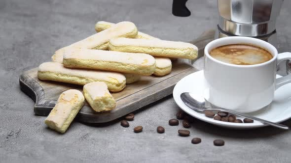 Thumbnail for Italian Savoiardi Ladyfingers Biscuits and Cup of Coffee on Concrete Backgound