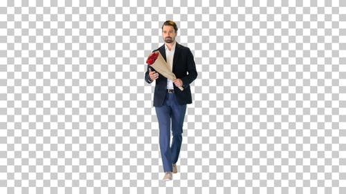 Man walking and looking at watch and holding flowers, Alpha Channel
