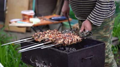 Barbecue Meat on Skewers, Beautifully Browned Meat on the Grill. A Pork Meat on the Grill in the