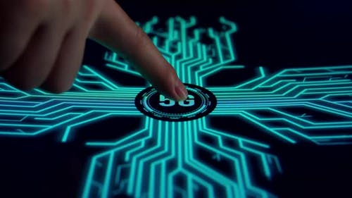 Human Finger Pushes Touch Digital 5G Button With Intelligence Spreading Through Internet