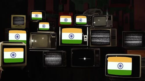 Flags of India and Retro TVs.