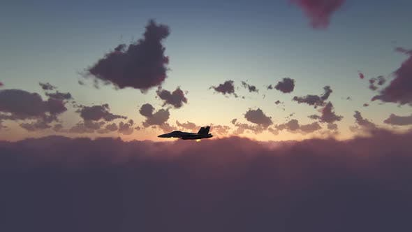 Thumbnail for F18 Military Airplane Sunset