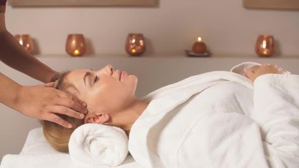 Scalp Massage. Anti-stress Facial Massage.