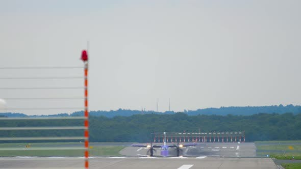 Turboprop Airplane Taxiing After Landing