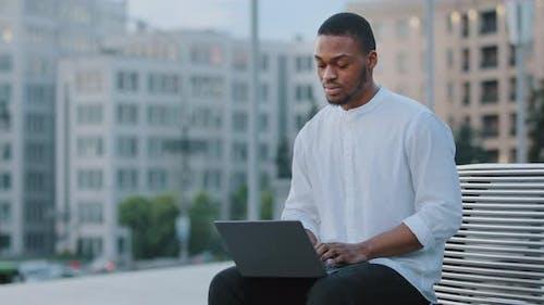 Afro American Guy African Business Man Writer Freelancer Student Manager Entrepreneur Sitting