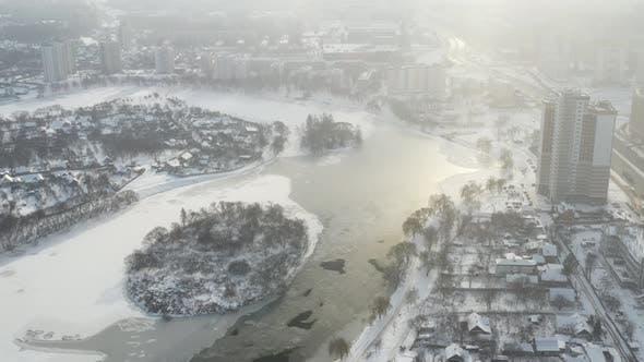 Winter River Svisloch in the Center of Minsk