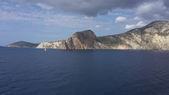 Aerial View of the Rocky Coast of Ibiza Island Spain Balearic Islands